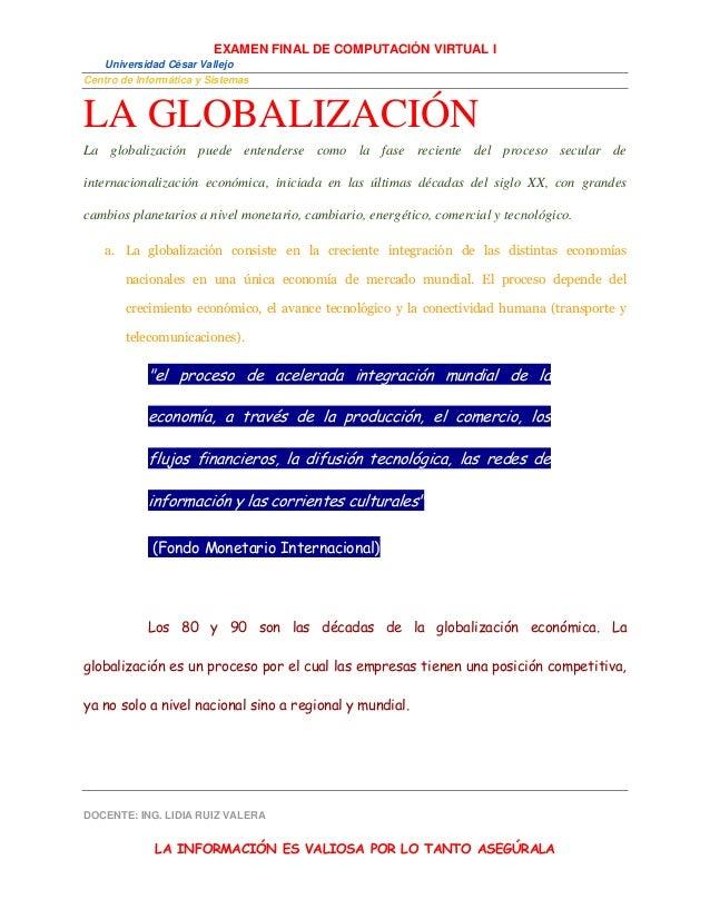 EXAMEN FINAL DE COMPUTACIÓN VIRTUAL I Universidad César Vallejo Centro de Informática y Sistemas DOCENTE: ING. LIDIA RUIZ ...