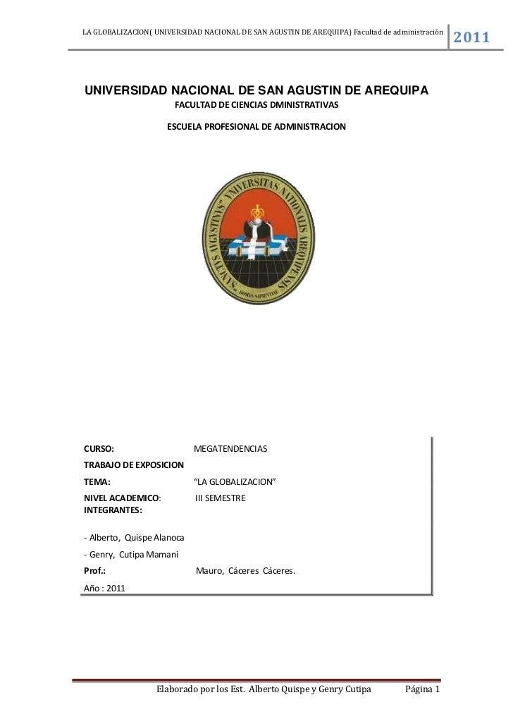 UNIVERSIDAD NACIONAL DE SAN AGUSTIN DE AREQUIPA<br />FACULTAD DE CIENCIAS DMINISTRATIVAS<br />ESCUELA PROFESIONAL DE ADMIN...