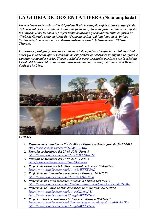 LA GLORIA DE DIOS EN LA TIERRA (Nota ampliada)En esta importante declaración del profeta David Owuor, el profeta explica e...