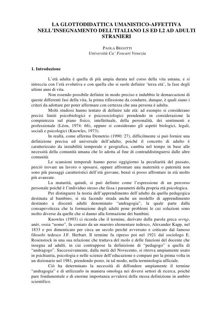 LA GLOTTODIDATTICA UMANISTICO-AFFETTIVA    NELL'INSEGNAMENTO DELL'ITALIANO LS ED L2 AD ADULTI                       STRANI...