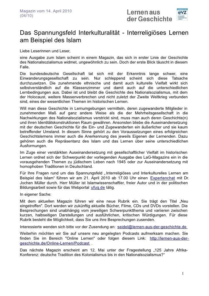 Magazin vom 14. April 2010 (04/10)    Das Spannungsfeld Interkulturalität - Interreligiöses Lernen am Beispiel des Islam L...