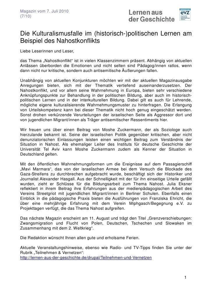 Magazin vom 7. Juli 2010 (7/10)    Die Kulturalismusfalle im (historisch-)politischen Lernen am Beispiel des Nahostkonflik...