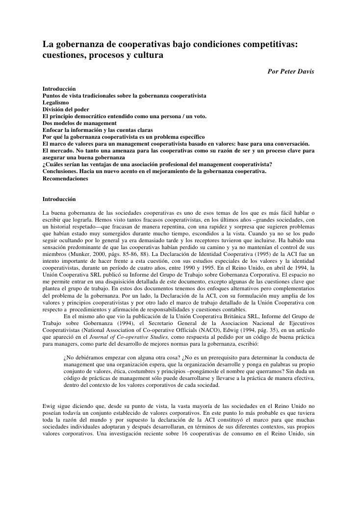La gobernanza de cooperativas bajo condiciones competitivas:cuestiones, procesos y cultura                                ...