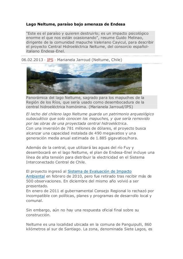 """Lago Neltume, paraíso bajo amenaza de Endesa  """"Este es el paraíso y quieren destruirlo; es un impacto psicológico  enorme ..."""