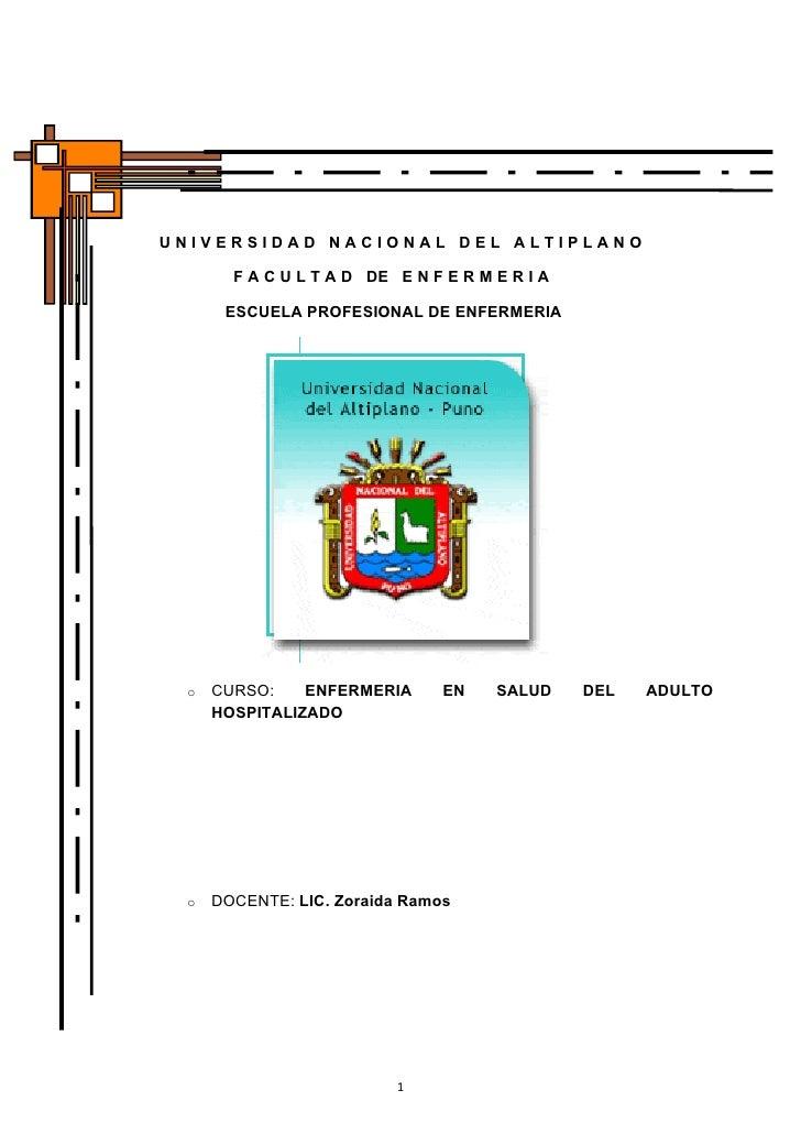 UNIVERSIDAD NACIONAL DEL ALTIPLANO       F A C U L T A D DE E N F E R M E R I A      ESCUELA PROFESIONAL DE ENFERMERIA o  ...