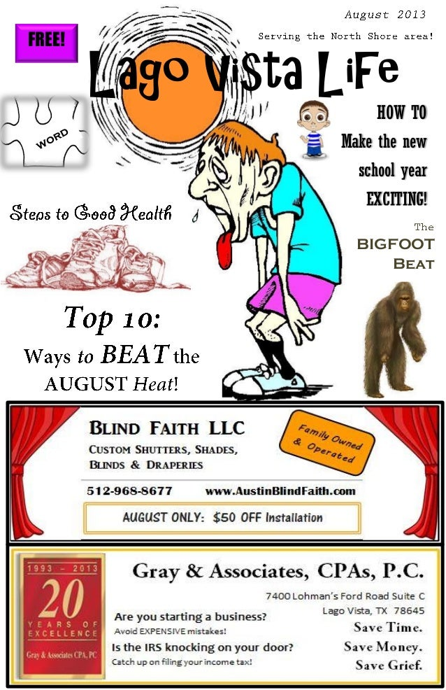 FREE! Lago Vista Life HOW TO Make the new school year EXCITING! BIGFOOT Beat