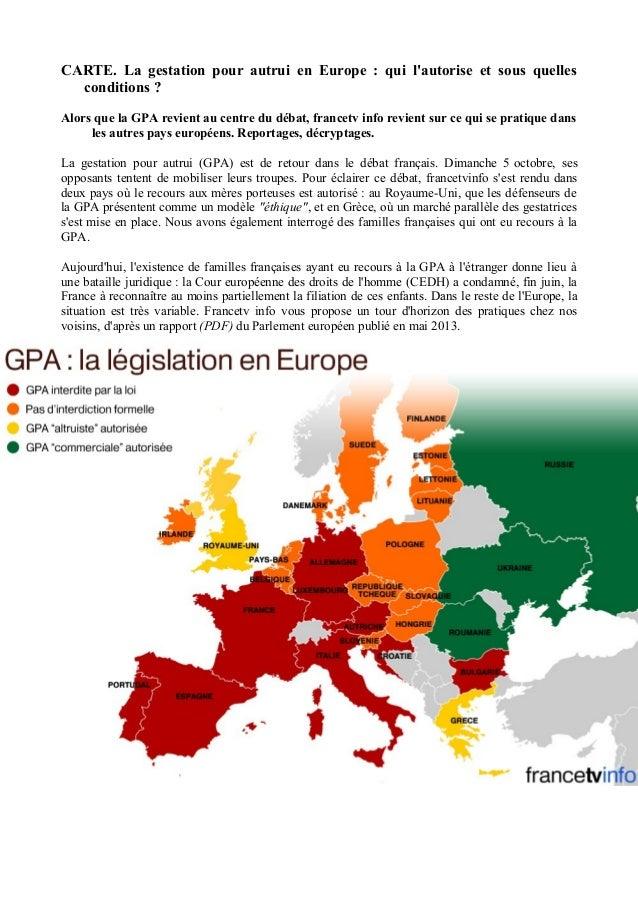 CARTE. La gestation pour autrui en Europe : qui l'autorise et sous quelles  conditions ?  Alors que la GPA revient au cent...