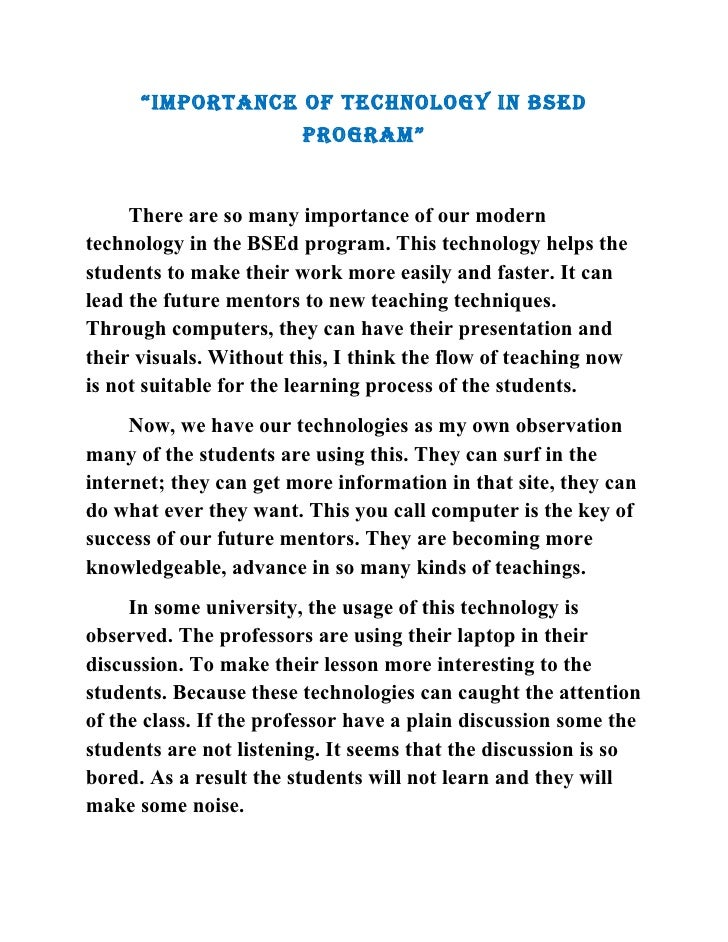 """""""IMPORTANCE OF TECHNOLOGY IN BSEd                         PROGRAM""""        There are so many importance of our modern techn..."""
