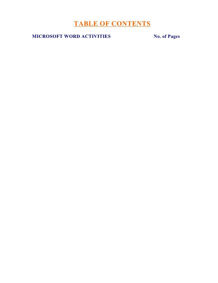 TABLE OF CONTENTS MICROSOFT WORD ACTIVITIES        No. of Pages