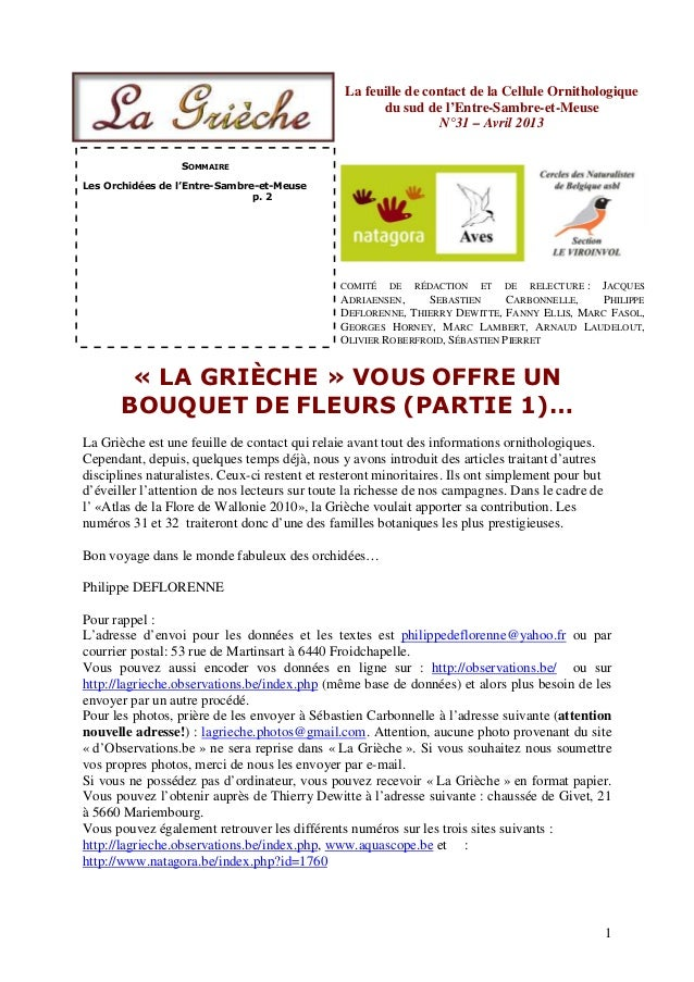 1La feuille de contact de la Cellule Ornithologiquedu sud de l'Entre-Sambre-et-MeuseN°31 – Avril 2013SOMMAIRELes Orchidées...