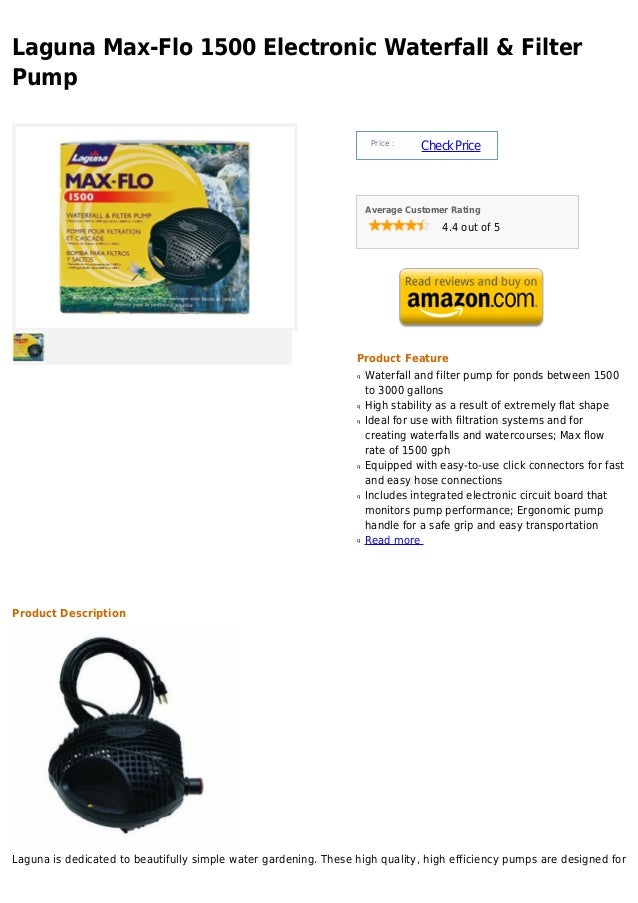 Laguna Max-Flo 1500 Electronic Waterfall & FilterPump                                                                     ...