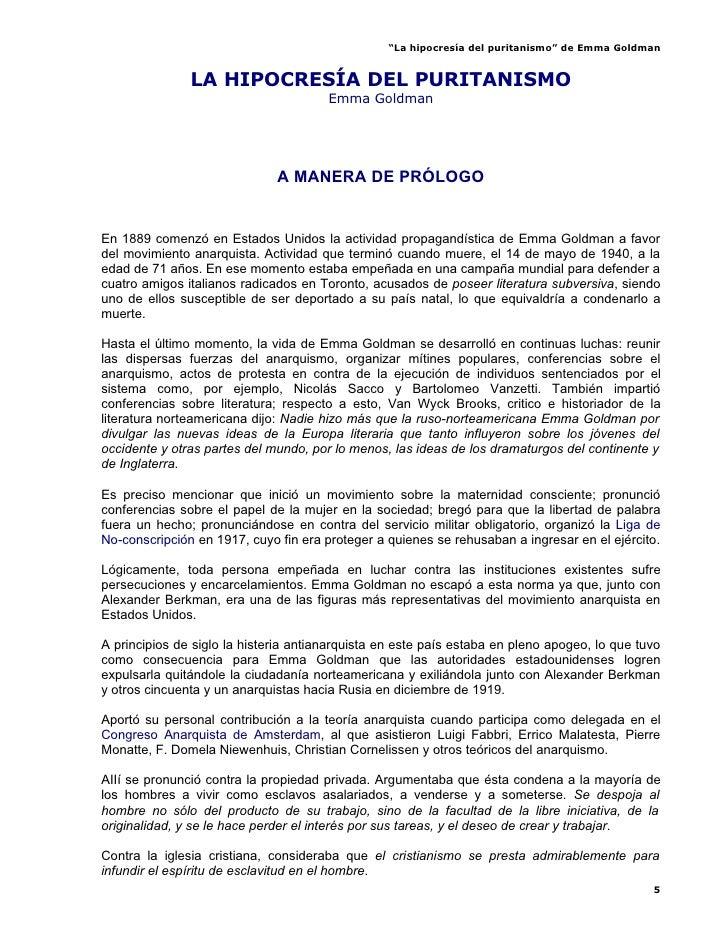 La HipocresíA Del Puritanismo   Emma Goldman