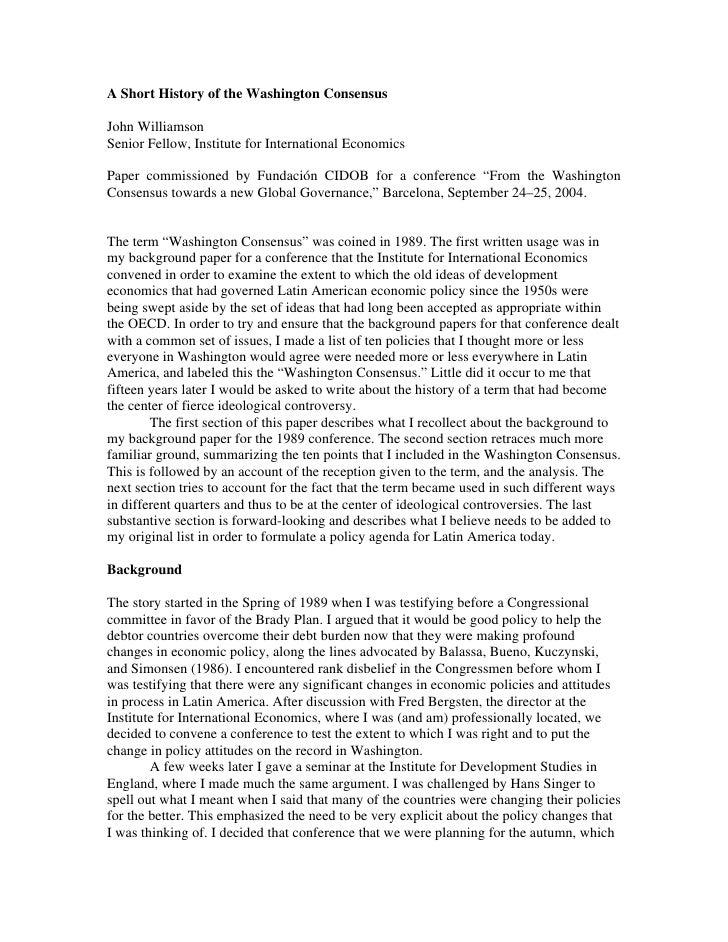 La Historia Del Consenso De Washington Por John  Williamson