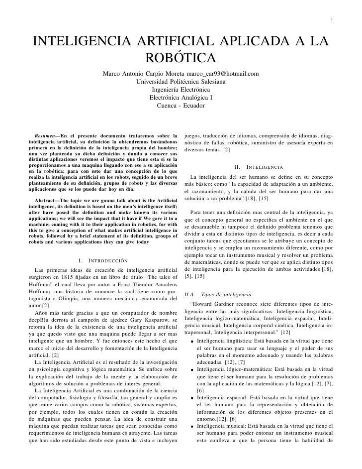 1 INTELIGENCIA ARTIFICIAL APLICADA A LA               ROBÓTICA                                  Marco Antonio Carpio Moret...