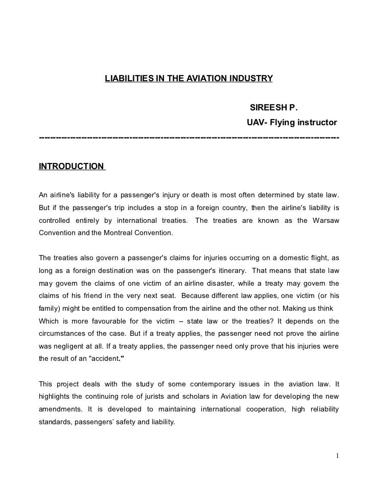 LIABILITIES IN THE AVIATION INDUSTRY                                                                          SIREESH P.  ...