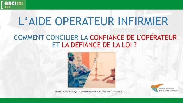 L'AIDE OPERATEUR INFIRMIER  COMMENT CONCILIER LA CONFIANCE DE L'OPÉRATEUR  ET LA DÉFIANCE DE LA LOI ?  Justine Jasson et J...