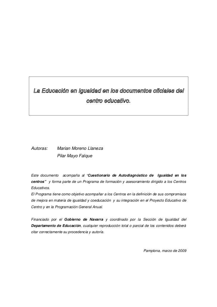 """Autoras:       Marian Moreno Llaneza               Pilar Mayo FalqueEste documento     acompaña al """"Cuestionario de Autodi..."""