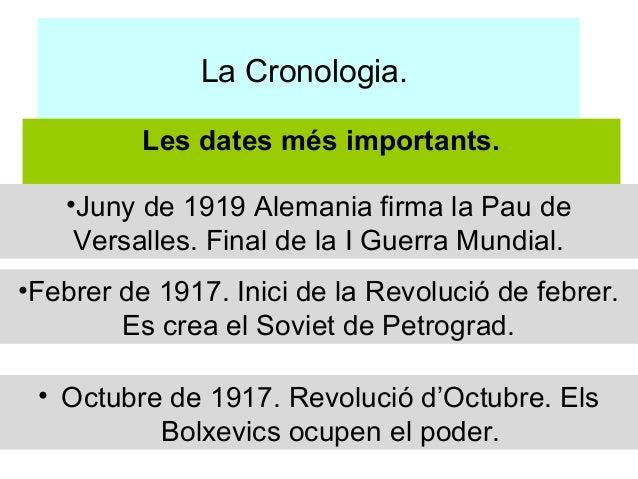 La Cronologia.          Les dates més importants.   •Juny de 1919 Alemania firma la Pau de    Versalles. Final de la I Gue...