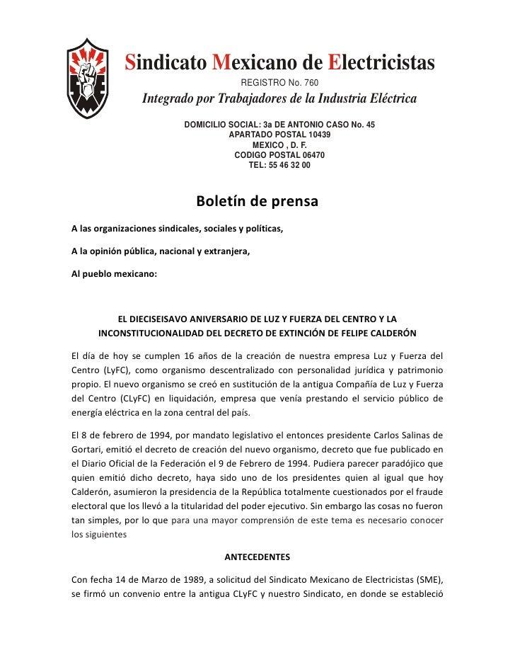 Sindicato Mexicano de Electricistas                                            REGISTRO No. 760                   Integrad...