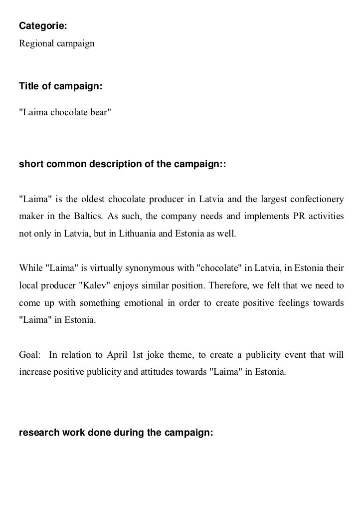 """Categorie:Regional campaignTitle of campaign:""""Laima chocolate bear""""short common description of the campaign::""""Laima"""" is th..."""