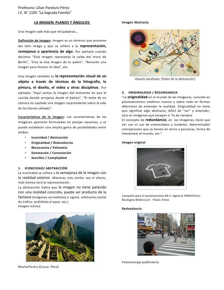 """Profesora: Lilian Panduro PérezI.E. N° 1105 """"La Sagrada Familia""""           LA IMAGEN: PLANOS Y ÁNGULOS                    ..."""