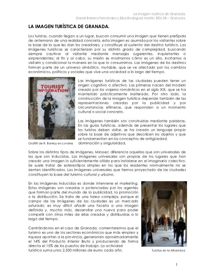 La imagen turística de Granada.                                   Daniel Barrera Fernández y Elisa Rodríguez Martín. REU 0...