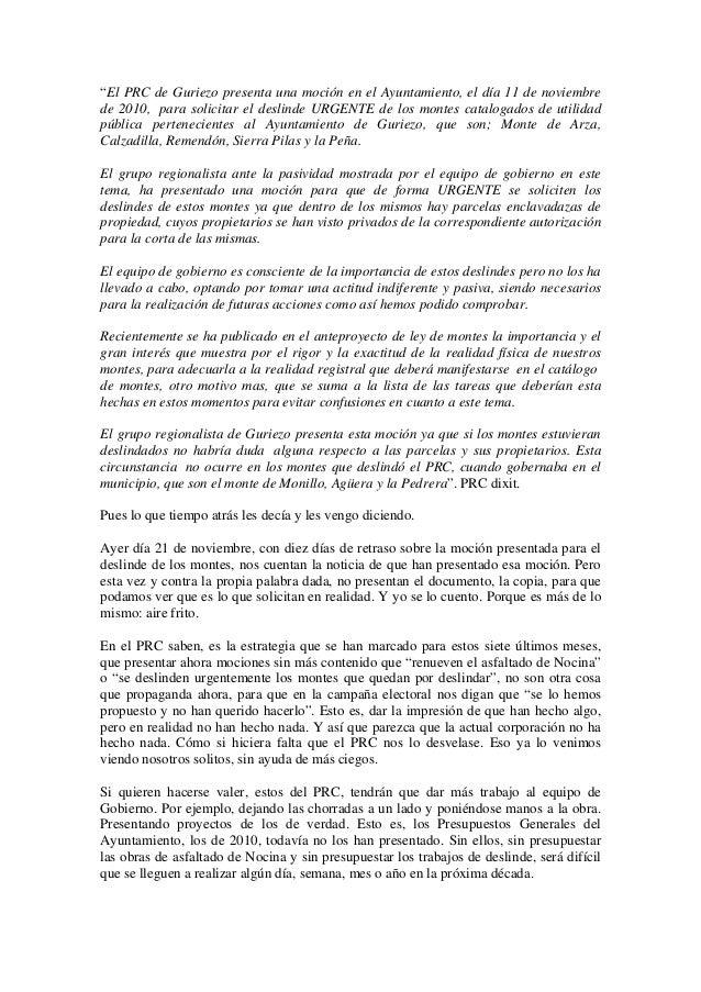 """""""El PRC de Guriezo presenta una moción en el Ayuntamiento, el día 11 de noviembre de 2010, para solicitar el deslinde URGE..."""