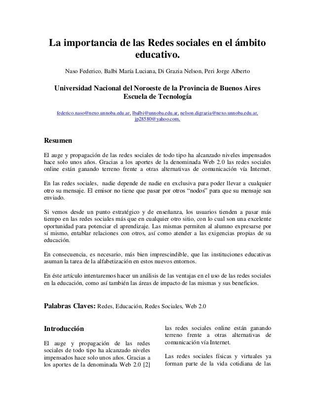 La importancia de las Redes sociales en el ámbito educativo. Naso Federico, Balbi María Luciana, Di Grazia Nelson, Peri Jo...