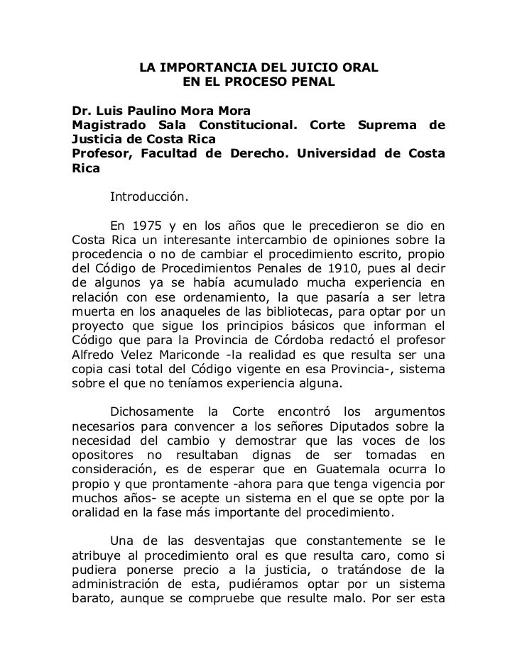 La Importancia Del Juicio Oral