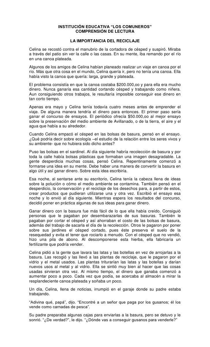 """INSTITUCIÓN EDUCATIVA """"LOS COMUNEROS""""<br />COMPRENSIÓN DE LECTURA<br />LA IMPORTANCIA DEL RECICLAJE<br />Celina se recostó..."""