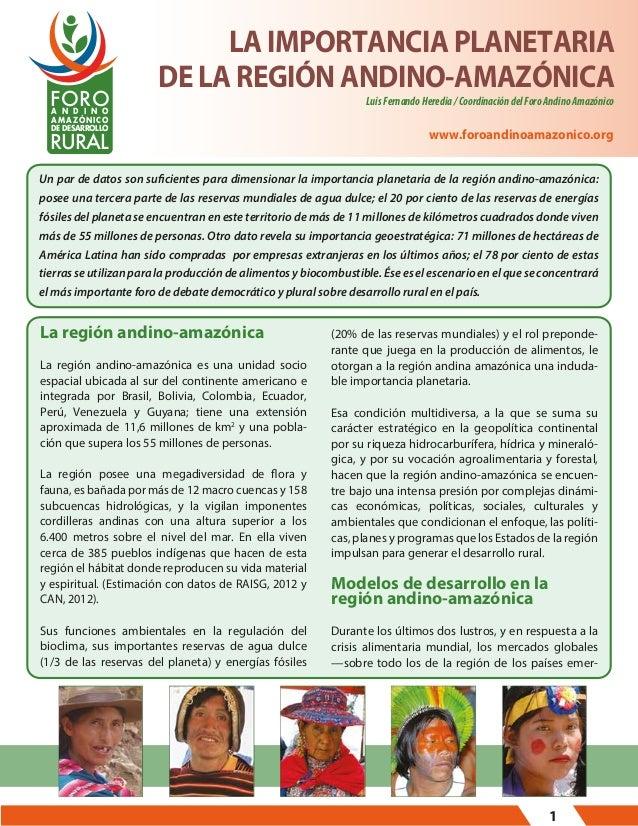FORO A N D I N O  LA IMPORTANCIA PLANETARIA DE LA REGIÓN ANDINO-AMAZÓNICA  AMAZÓNICO DE DESARROLLO  RURAL  Luis Fernando H...