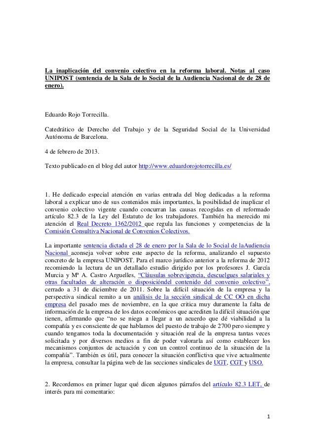 La inaplicación del convenio colectivo en la reforma laboral. Notas al casoUNIPOST (sentencia de la Sala de lo Social de l...