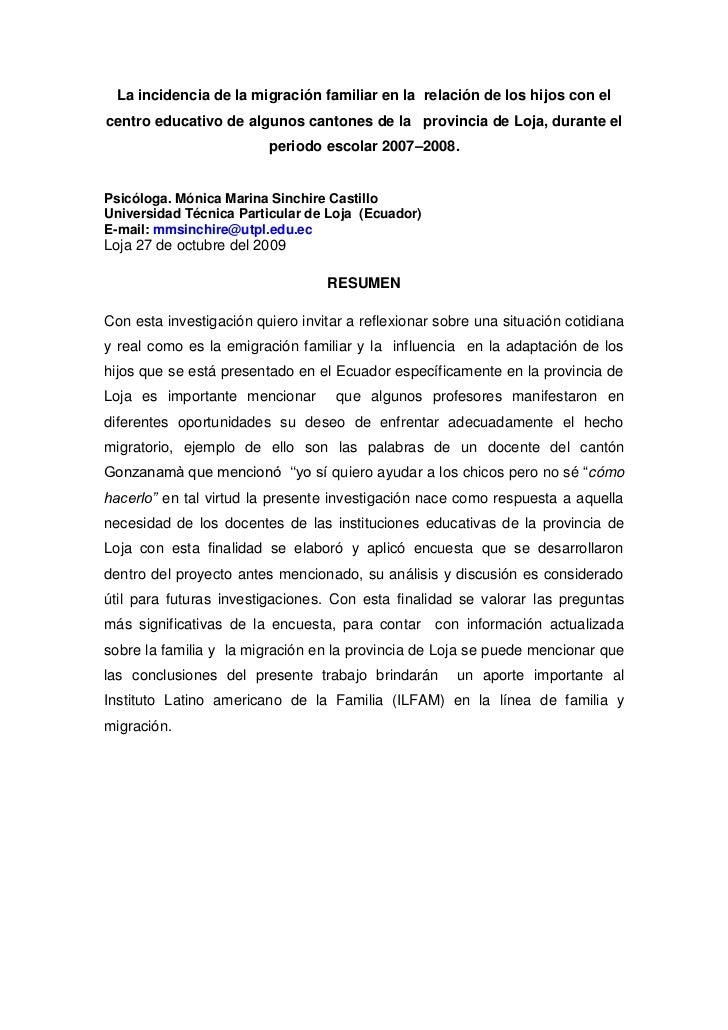 La incidencia de la migración familiar en la  relación de los hijos con el centro educativo de algunos cantones de la   provincia de loja,