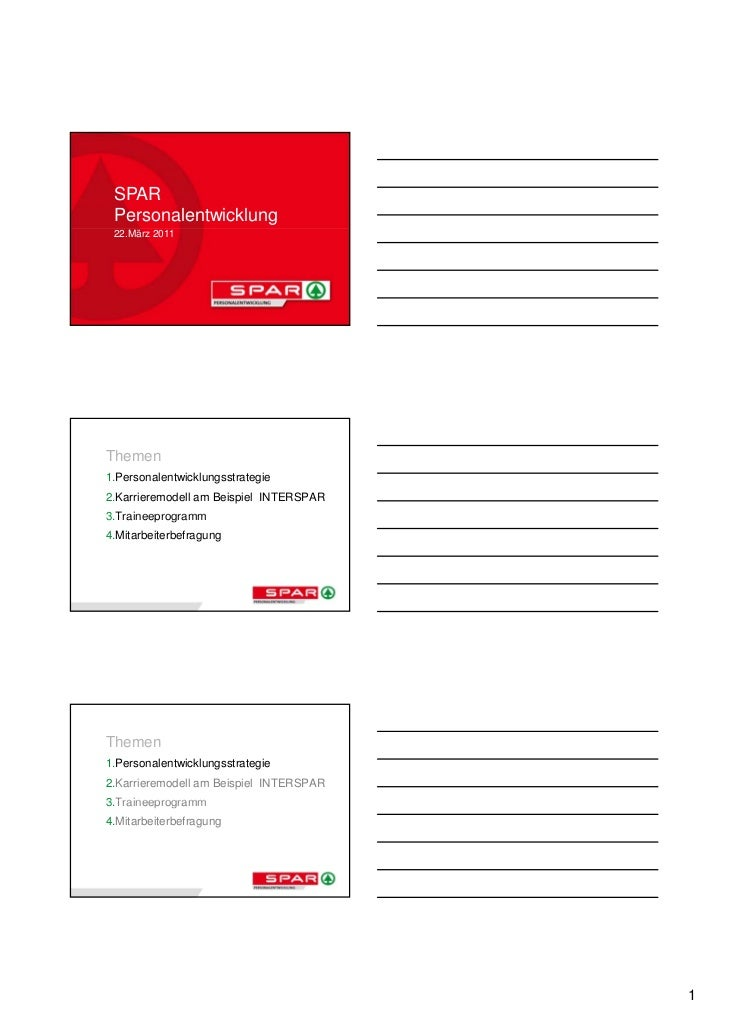 SPAR Personalentwicklung 22.März 2011Themen1.Personalentwicklungsstrategie2.Karrieremodell am Beispiel INTERSPAR3.Traineep...
