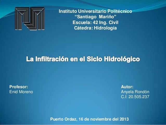 """Instituto Universitario Politécnico """"Santiago Mariño"""" Escuela: 42 Ing. Civil Cátedra: Hidrología  Profesor: Enid Moreno  A..."""