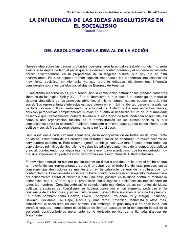 """""""La influencia de las ideas absolutistas en el socialismo"""" de Rudolf Rocker        LA INFLUENCIA DE LAS IDEAS ABSOLUTISTAS..."""