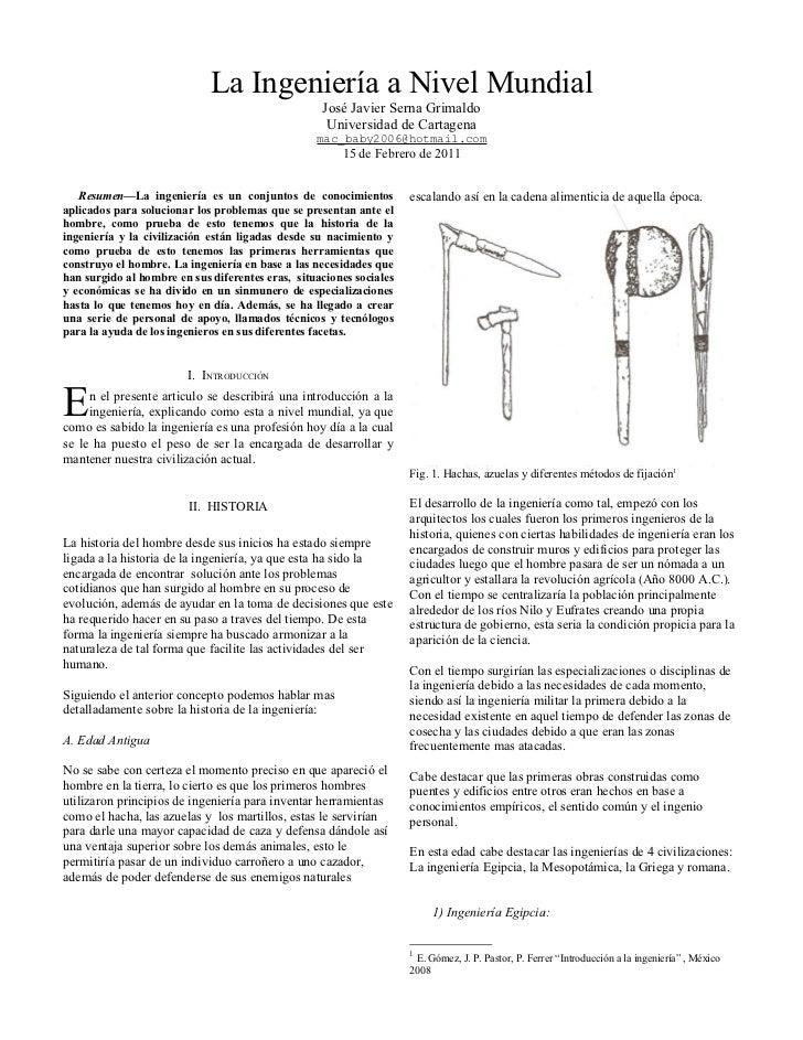 La Ingeniería a Nivel Mundial                                                   José Javier Serna Grimaldo                ...