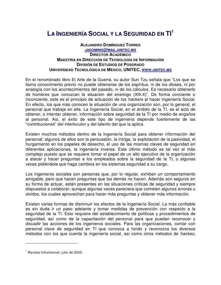 LA INGENIERÍA SOCIAL Y LA SEGURIDAD EN TI1                                ALEJANDRO DOMÍNGUEZ TORRES                      ...