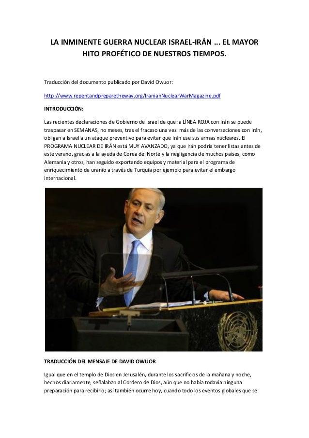 LA INMINENTE GUERRA NUCLEAR ISRAEL-IRÁN ... EL MAYOR HITO PROFÉTICO DE NUESTROS TIEMPOS.  Traducción del documento publica...
