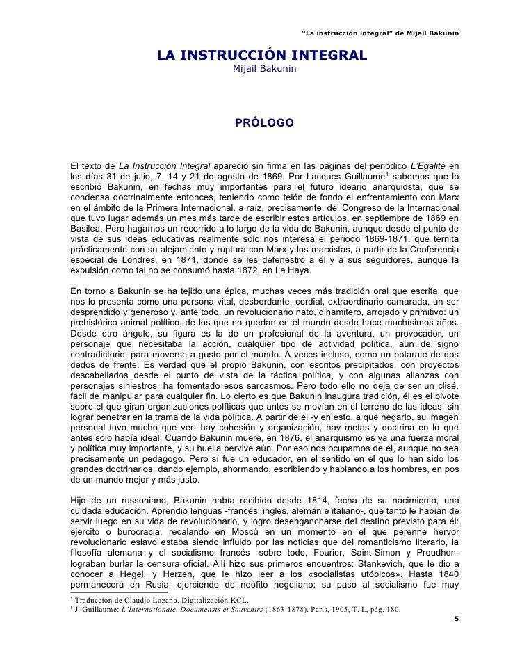 La InstruccióN Integral   Mijail Bakunin