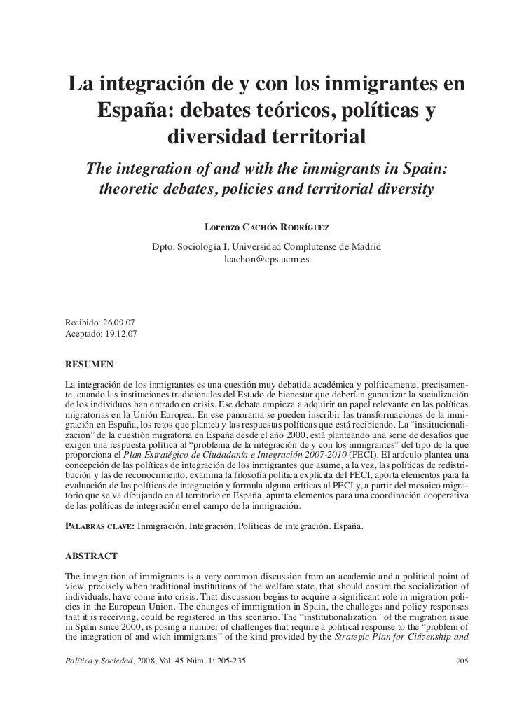 La integracion de y con los inmigrantes en españa