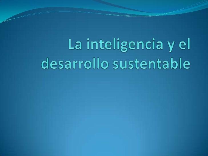 La inteligencia y el desarrollo sustentable<br />