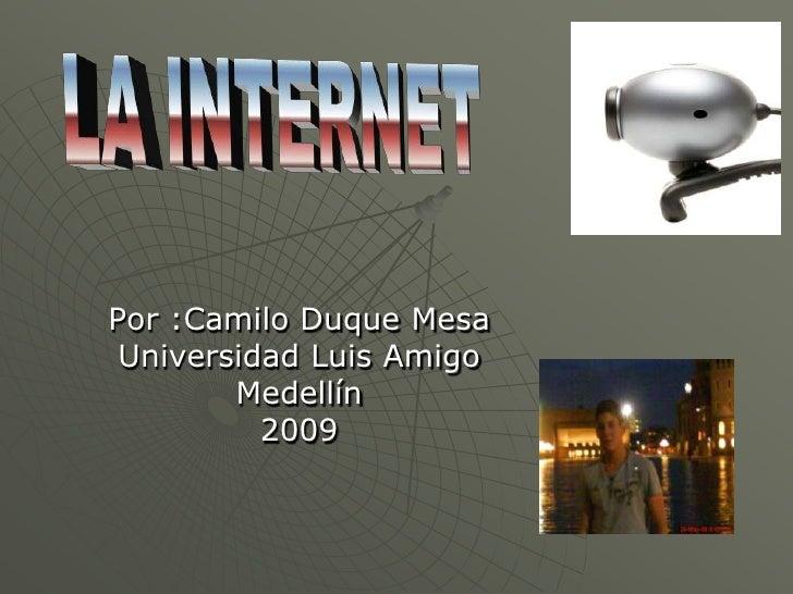 Por :Camilo Duque Mesa  Universidad Luis Amigo         Medellín           2009