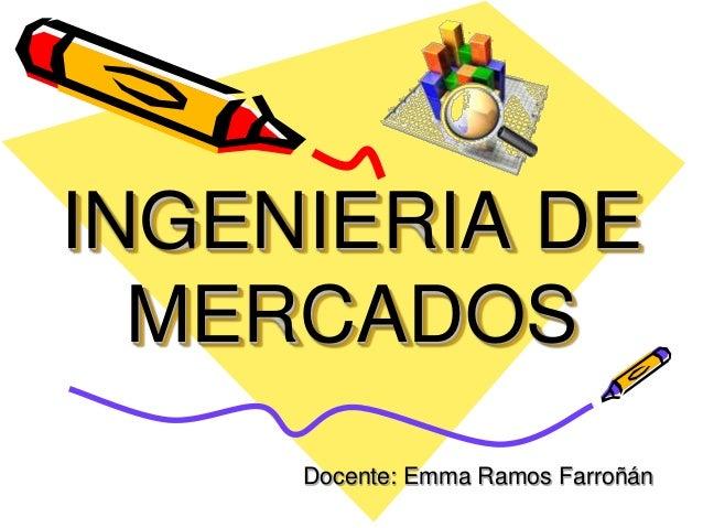 INGENIERIA DE MERCADOS Docente: Emma Ramos Farroñán