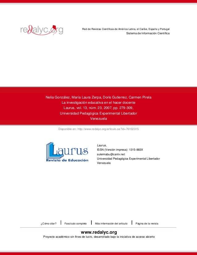 Red de Revistas Científicas de América Latina, el Caribe, España y Portugal  Sistema de Información Científica  Nelia Gonz...
