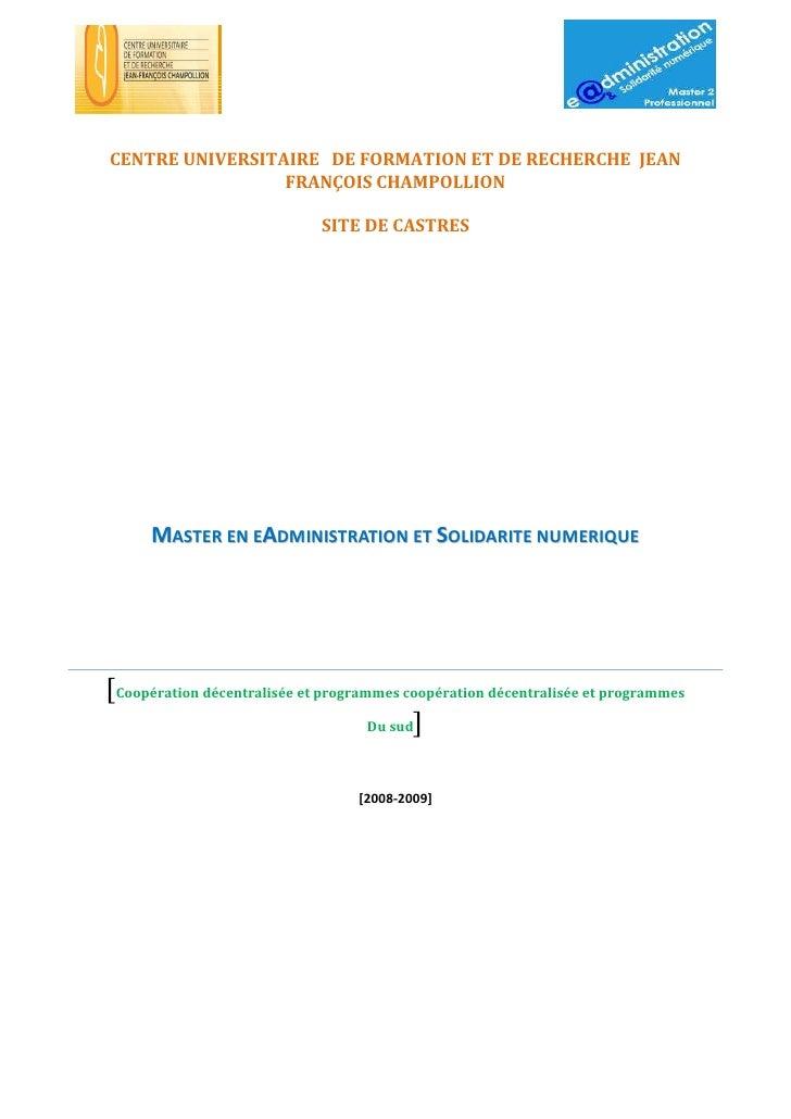 CENTRE UNIVERSITAIRE DE FORMATION ET DE RECHERCHE JEAN                  FRANÇOIS CHAMPOLLION                              ...