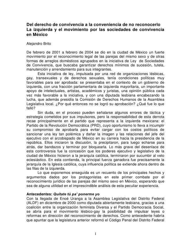 Matrimonio De Convivencia : La izquierda y el movimiento por las sociedades de
