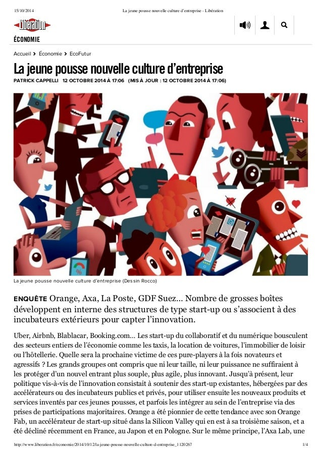 15/10/2014 La jeune pousse nouvelle culture d'entreprise - Libération  ÉCONOMIE  Accueil › Économie › EcoFutur  La jeune p...
