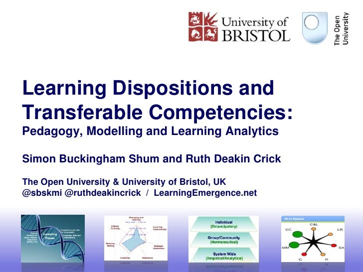 Learning Dispositions andTransferable Competencies:Pedagogy, Modelling and Learning AnalyticsSimon Buckingham Shum and Rut...