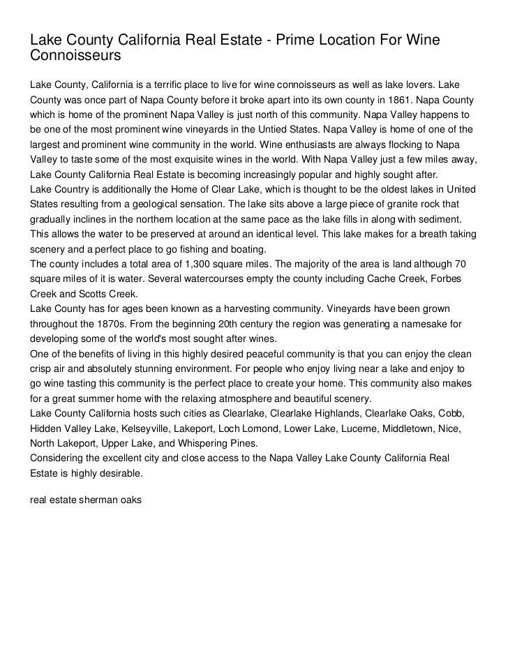 Lake County California Real Estate - Prime Location For WineConnoisseursLake County, California is a terrific place to liv...